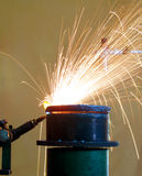 Pipe cutting. With blowing fire Royalty Free Stock Image