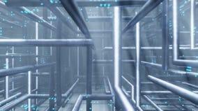 Pipe of electricity line Server room datacenter background 3D rendering