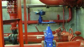 Pipe in the fire pumping station stock footage