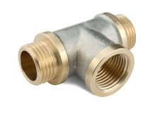 Pipe fitting. Threaded pipe fitting isolated on a white background Stock Image