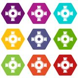 Pipe fitting icon set color hexahedron Stock Photos