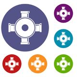 Pipe fitting icons set Royalty Free Stock Photo