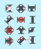 Pipe fitting vector set. Pipeline vector illustration. Pipe fitt Royalty Free Stock Photo