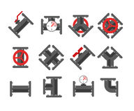 Pipe fitting vector set. Pipeline vector illustration. Pipe fitt Royalty Free Stock Photography
