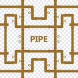Pipe fittings  icons set. Tube industry, construction pipe. Line, drain system. Pipeline water Stock Photos