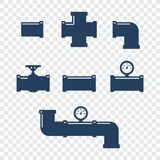Pipe fittings  icons set. Tube industry, construction pipe. Line, drain system. Pipeline water Stock Image