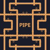 Pipe fittings  icons set. Tube industry, construction pipe. Line, drain system. Pipeline water Royalty Free Stock Images