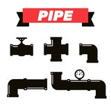 Pipe fittings  icons set. Tube industry, construction pipe. Line, drain system. Pipeline water Stock Images
