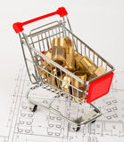 Pipe fittings in shopping cart Stock Photo
