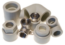 Pipe fittings for water Royalty Free Stock Photos