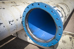Pipe flanges from water city supply Royalty Free Stock Photo