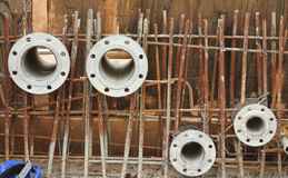Pipe flanges for water tank install before the concreting work Stock Image