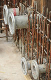 Pipe flanges for water tank install before the concreting work Royalty Free Stock Images