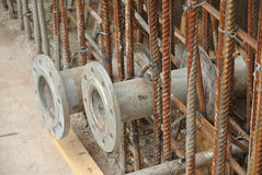 Pipe flanges for water tank install before the concreting work Stock Photos