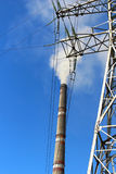 Pipe GRES and transmission tower Royalty Free Stock Image