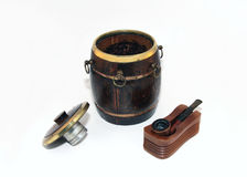 Pipe and Humidor. A pipe, pipe holder, and Humidor full of tobacco on a white background Royalty Free Stock Photo