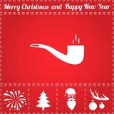Pipe Icon Vector. And bonus symbol for New Year - Santa Claus, Christmas Tree, Firework, Balls on deer antlers Stock Photo