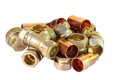 Pipe joints, connections and j. Unctions for use in domestic plumbing Stock Images