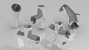 Pipe joints set. Chromed steel pipe joints set Royalty Free Stock Photo