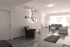 Pipe lamp in livingroom. Open space apartment with a modern pipe lamp on the wall, real estate building Stock Image