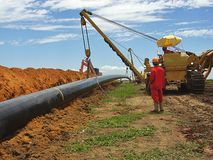 Pipe Laying Operation at Gas Pipeline Construction stock photography