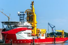 Pipe-laying vessel in the port of Rotterdam Royalty Free Stock Images