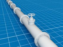 Pipe line ( blue print in 3d ) Stock Images