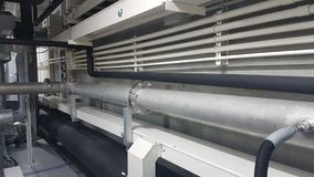 Pipe line system and conduit and cable duct for the gas system and electrical systems stock photo