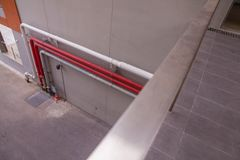 Pipe line on the wall. Of the building Royalty Free Stock Photo