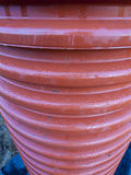 Pipe made ​​of plastic. Corrugated drainage pipe made ​​of plastic, close up view royalty free stock photography