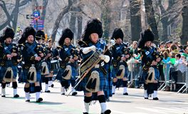 Pipe Major. Of the Port Authority Police Officers fallen in the line of duty, marching during the 2012 Saint Patrick's Day Parade on 5th Avenue New York Stock Images