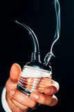 Pipe with marijuana. Close-up of a beautiful glass pipe with marijuana royalty free stock photography