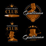 Pipe mens club vector gentlemen logos set Royalty Free Stock Photography