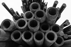 Pipe metal. Metal round pipe pile on a white background Royalty Free Stock Photography