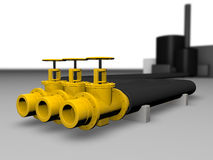 Pipe oil. Big pipe and oil factory Stock Images