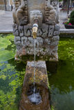 Pipe Open Water, Source Post. Open faucet spout, leaving clear, sparkling water in public fountain in the Plaza del Negrillon of Bonar (Leon) decorated with Stock Images