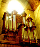 Pipe organ. In a church Royalty Free Stock Images