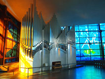 Pipe organ. Stainless steel pipe organ in a modern church in Rome, Italy Stock Photo