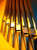 Pipe organ. Stainless steel pipe organ in a church in Rome, Italy Royalty Free Stock Photos