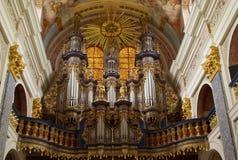 Pipe organ. In the Swieta Lipka church, located outside Ketrzyn in north-eastern Poland Stock Photo
