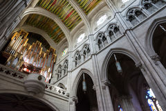 Pipe organ in Almudena Cathedral, Madrid Royalty Free Stock Images