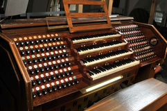 Pipe organ in Cathedral Stock Images