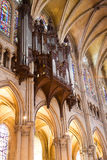 Pipe organ of Chartres Cathedral. Organ of Chartres Cathedral, France Series Stock Photos