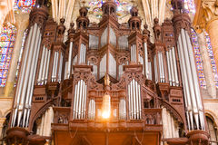 Pipe organ of Chartres Cathedral. Organ of Chartres Cathedral close up, France Series Stock Photography