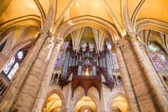 Pipe organ of Chartres Cathedral. Organ and archs of Chartres Cathedral perspective, France Series Stock Images