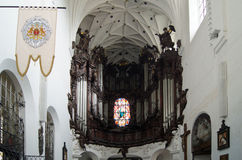 Church organ in Oliwa. Famous moving baroque organs in the cathedral of Oliwa Royalty Free Stock Photography