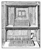 Pipe organ console and pedals, vintage engraving Royalty Free Stock Photos