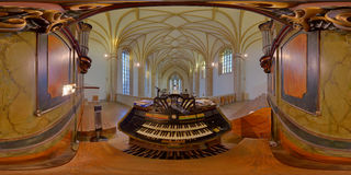Pipe Organ Console in Reformed Church of Farkas/Kogălniceanu Street in Cluj-Napoca, Romania. 360 panorama of the pipe organ's console in the Reformed Church of Royalty Free Stock Photo