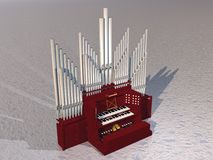 Pipe organ - 3D render. Close up of beautiful pipe organ instrument on grey ground Royalty Free Stock Photos