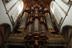 Pipe organ in the Grote Kerk in Haarlem, Netherlands. Royalty Free Stock Images
